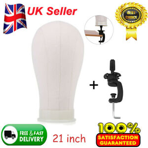 """21""""Mannequin Cork Head Canvas Block Wig Toupee Making Holder Display Stand Clamp"""