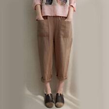 US Women Elastic High Waist Baggy Cotton Linen Harem Pants Trousers Plus Size