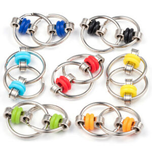 Kids Metal Chain Ring Finger Spinner Stress Relief For Autism ADHD Sensory Toy