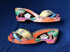 Ww Ii Soldier's Sweetheart Vintage 1940s Hand Carved, Painted Wood Wedge Sandals