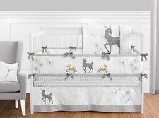 Sweet Jojo Grey White Dandelion Deer Forest Fawn Baby Boy Girl Bedding Crib Set