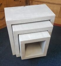 SOLID WOOD RUSTIC GREY WASHED CHUNKY NEST OF TABLES - WOODEN CUBE NEST OF TABLES