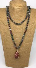 Fashion semi precious long knot green agate bloodstone Natural Pendant Necklace