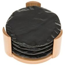Set of 4 Round Slate Look With Bamboo Holder Drinks Coasters 270011