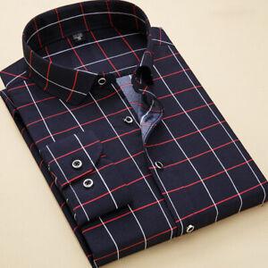 Mens Long Sleeves Dress Shirts Business Work Formal Plaids Button Down Shirts