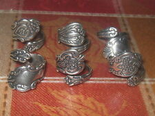WHOLESALE LOT OF 6 SILVER PLATED FLORAL SPOON RINGS SIZES 5-10 ADJUSTABLE
