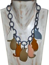 FRENCH DESIGNER SPECTACULAR RESIN BIB NECKLACE WITH CAT CHARMS -GREY BROWN