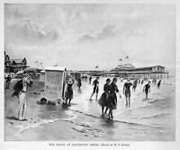 GALVESTON TEXAS BEACH PAVILLION BATHERS SURF PIER 1895 HISTORY HARPER'S WEEKLY