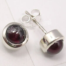 Handmade Earrings 0.8 Cm Brand New 925 Solid Silver Natural Cabochon Garnet Stud