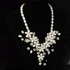 s10429 Natural freshwater White Pearl beads flower necklace 21""