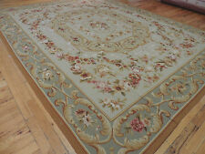Extraordinary 8x10 French Aubusson design Oriental Area Rug Green Gold Beige