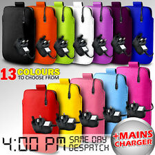 LEATHER PULL TAB POUCH SKIN CASE COVER + MAINS CHARGER FOR VARIOUS LG MOBILES