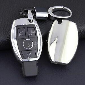 For Mercedes-Benz GLA/GLC/GLE/GLK/GLS/SLK Silver Smart Key Fob Case Cover Chain
