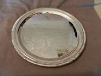 Silverplated Round Serving Platter Engraved, Scroll Edge (M)