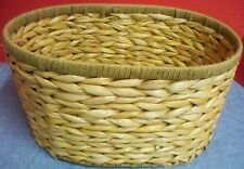 """Large Oval Straw Basket Metal Frame Great for Gift Baskets 13"""" x 9 1/2"""" x 7"""" T"""