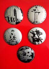 LOT OF 5 ARMENIA EREVAN MONUMENTS BLACK & SILVER PIN BADGE BUTTON YEREVAN