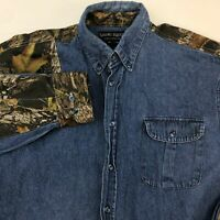 Camo Ridge Button Up Shirt Men's Large Long Sleeve Blue Denim Casual 100% Cotton