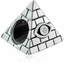 Egyptian Pyramid Charm Bead 925 Sterling Silver Pendant Fits European Bracelet