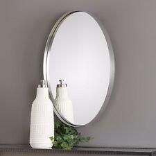 "Modern Pursley 30"" Brushed Nickel Thick Steel Band Frame Wall Vanity Mirror"
