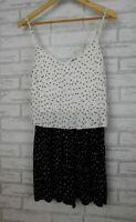 Sportsgirl Jumpsuit playsuit Sz S, 10 Black, white polka dot print
