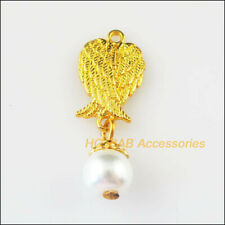 10 New Animal Wings Charms White Glass Beads Pendants Gold Plated 11x30mm