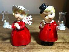 New ListingRare Vtg Christmas Girl Boy Couple Hurricane Lamp Candle Light Figurines