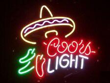 """Coors Light Mexico Pepper Hat Neon Lamp Sign 17""""x14"""" Bar Light Glass Artwork"""