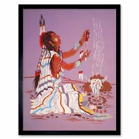 Painting Drawing Native American Indian Fire Shaman Dress 12X16 Framed Print