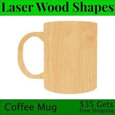 Coffee Mug Laser Cut Out Wood Shape Craft Supply - Woodcraft Cutout
