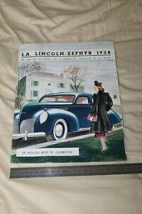 (MB2/E) Brochure Catalogue LINCOLN ZEPHYR 1938 / MATFORD FRANCE Lyon Veyet