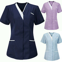 Women Healthcare Zip Fastening Collared Nurse Tunic Top Womens Hospital Uniform