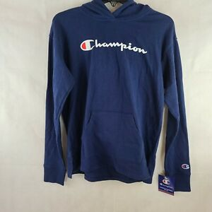 Champion Womens Middleweight Hoodie, Script Logo Blue Size XS WS-925