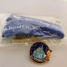 WALT DISNEY TRAVEL CO. LANYARD AND DISNEYLAND 50TH PIN CASTLE Mickey Mouse NEW