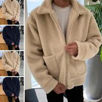 INCERUN Mens Fluffy Winter Warm Coat Shaggy Jacket Casual Plain Pocket Outwear