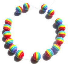 100 BEAUTIFUL BRIGHT MIXED RAINBOW COLOURED 8MM BEADS -  FAST FREE SHIPPING