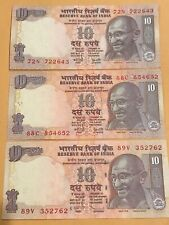 India Ten Rupees Notes - 3 Different Suffix And Signatures