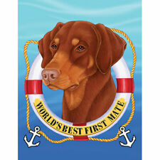 Doberman Pinscher Red Uncropped World's Best First Mate Decorative Flag