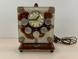Vintage Lanshire 6 Silver Dollar 1886-24 Electrical Resin Decorative Table Clock