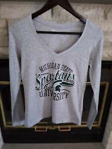 Champion LS Shirt V Neck Michigan State NWT XS Grey