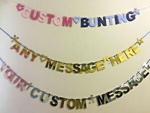 Personalised Alphabet Custom Bunting Flag Birthday Baby Shower Party Banner AB7c