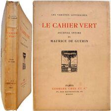 Le Cahier vert journal intime 1832-1835 Maurice de Guérin manuscrits Trebutien