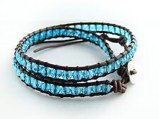 Pulsera de envoltura de 2 azul real de cuero marrón, perlas de vidrio