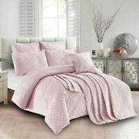 Sienna Living Sapphire Embossed Pink Sand Coverlet Queen King 240cm x 220cm
