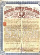 First Mortgage Bond 1910 Central Railway of Ecuador Ltd £20 Uncancelled coupons