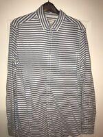 Mens River Island Striped Long Sleeve Smart Casual Shirt Medium Regular Fit