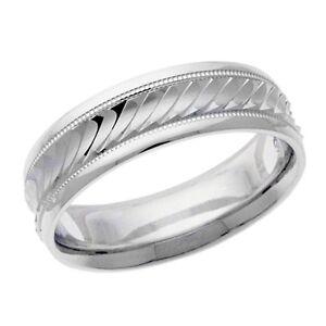 Platinum 14k 10k silver white gold wedding band ring Diamond cut men's milgrain