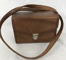 Instamatic Camera Case Faux Leather Hard Side with Strap Brown Vintage