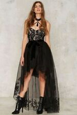 Nasty Gal Collection Tulle Legit Embroidered Skirt small black new with tags