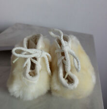 NWT MiniMink Ivory Faux Fur Cotton Lined Lace-up Baby Booties Bootees 3-6 Mos