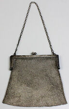 """Antique Sterling Silver Mesh Chain Mail Ornate Chased Frame 5"""" Purse-Ls Mark"""